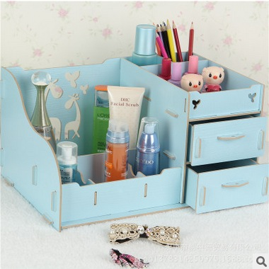 Home Decor Large Wooden Storage Box Jewelry Container Makeup Organizer Case Handmade Diy Assembly Cosmetic Organizer