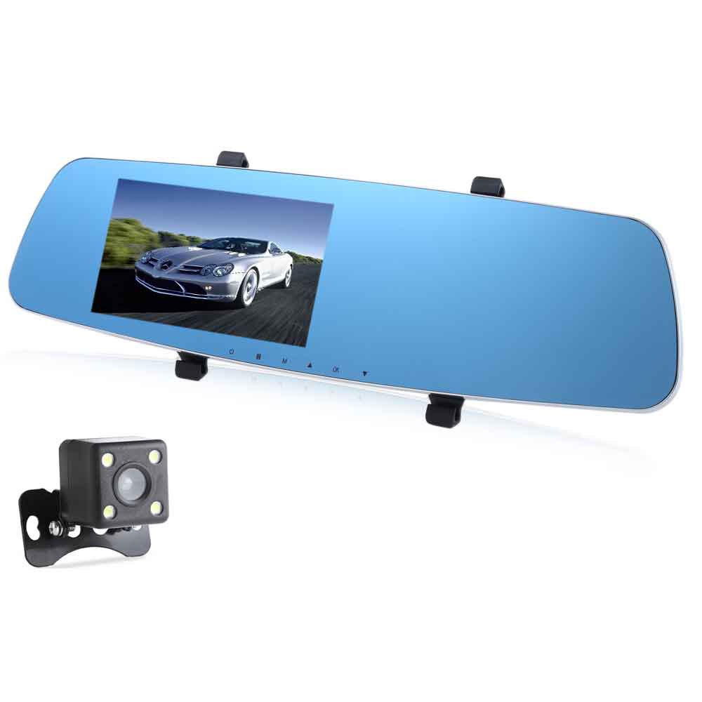 RH - 655 5 Inch Dual Lens Car DVR Rear-view Mirror Full HD 1080P Vehicle Traveling Data Recorder GPS G-sensor Night Vision full hd 1080p vehicle blackbox dvr with g sensor