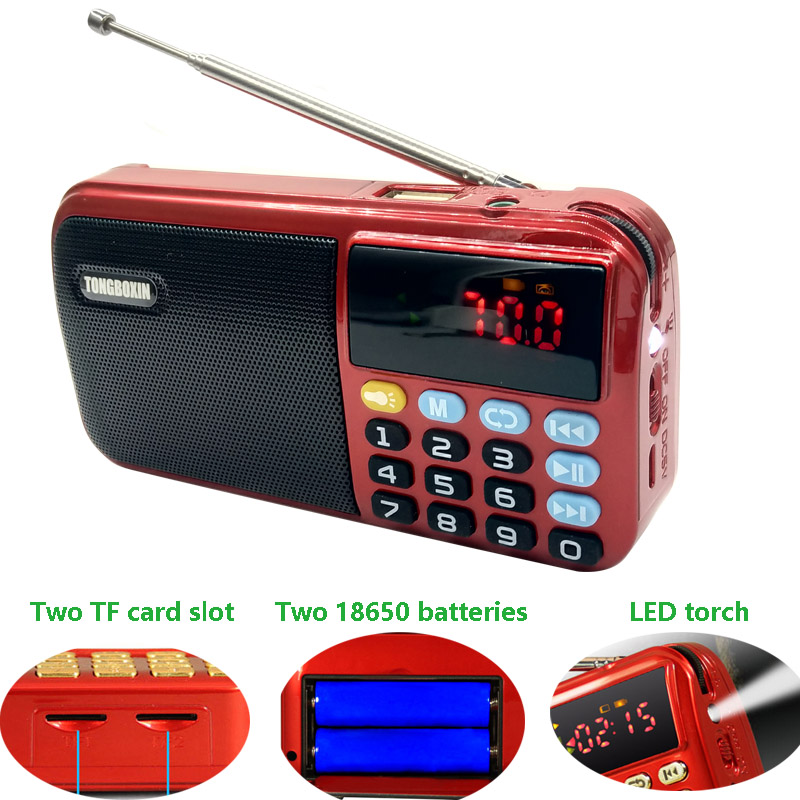 C-803 With Two 18650 Batteries Slot & LED Flashlight &Two TF Card Slot Portable FM Radio Wireless USB Speaker MP3 Player