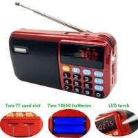 C-803 con dos baterías 18650 ranura y linterna LED y dos ranuras para tarjeta TF altavoz USB inalámbrico Radio FM portátil MP3 jugador