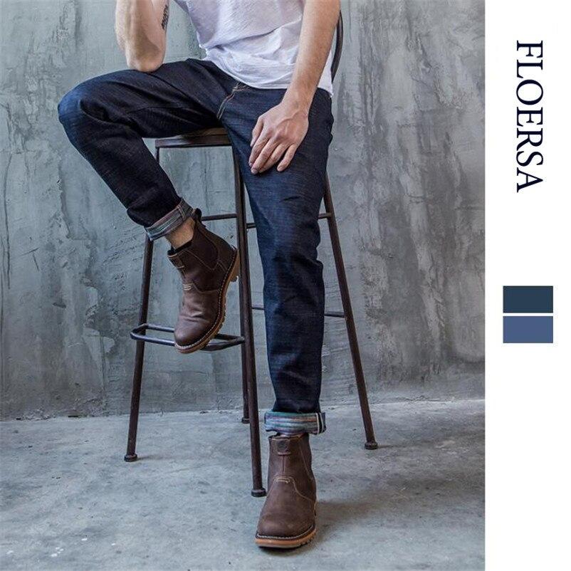 FLOERSA Men's Jeans Casual Retro Denim Jeans Selvedge Straight Trousers 100% Cotton Pants Men Fashion Jeans 2017#056-39 floersa men jeans selvedge vintage style denim jeans men brand denim trousers cotton casual straight mid waist pants 057 39