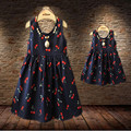 Vestidos de verano vestidos madre hija madre e hija vestido de juego de madre e hija ropa chicas cereza princesa del vestido 2015 nuevo