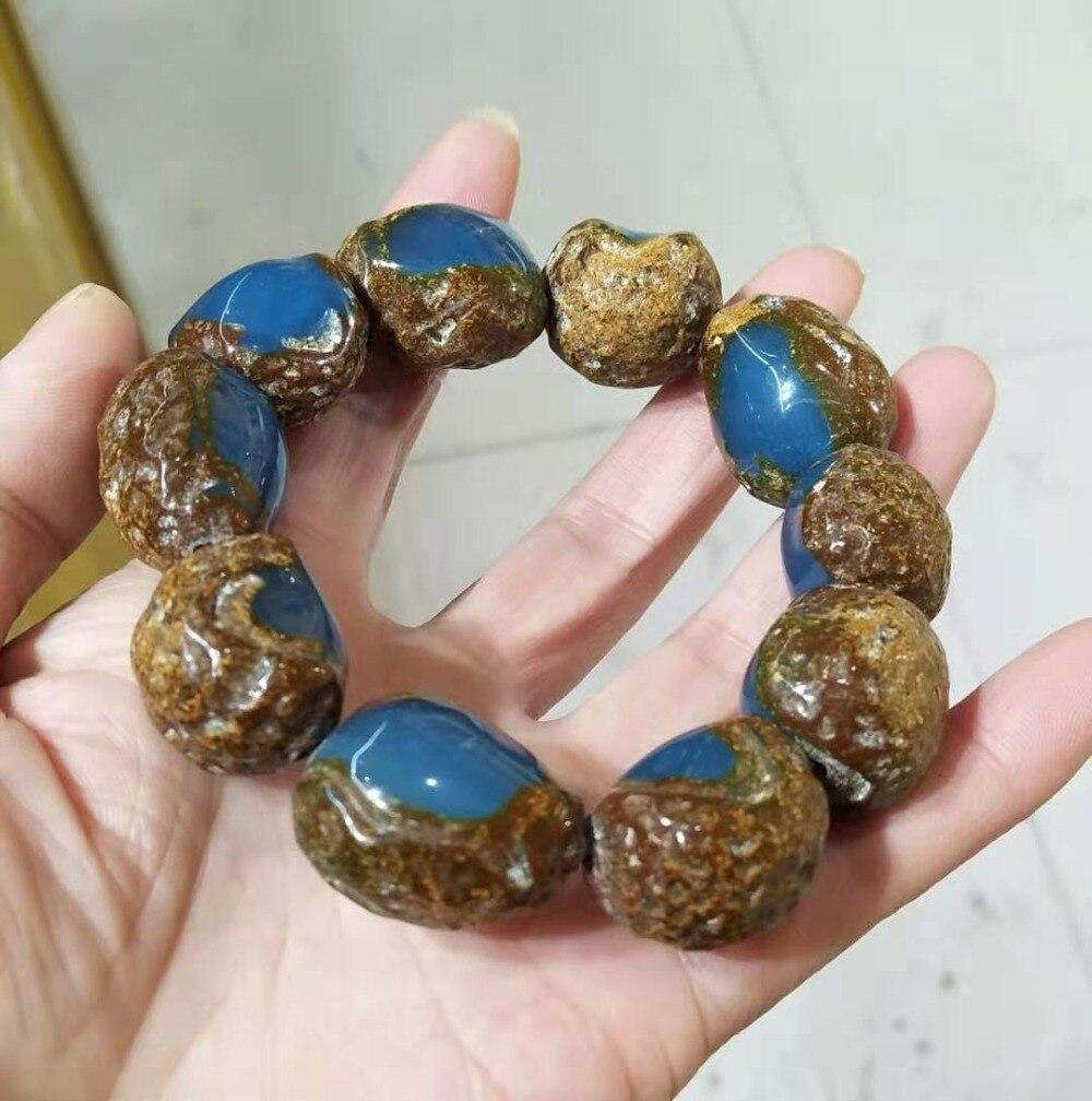 Cire de miel ambré naturel avec peau Bracelet de potier bleu pour hommes et femmes cadeau délicat pour dames