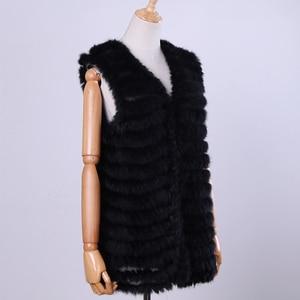 Image 3 - 2020 New Womens Genuine Rabbit Fur Vest Hand Knitted Fur Gilet Lady Natural Fur Waistcoat Sleeveless Real Fur Coat Jacket