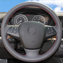 цена Free Shipping High Quality cowhide Top Layer Leather handmade Sewing Steering wheel covers protect For BMW X5 в интернет-магазинах