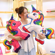 New Hot unicorn pillow cartoon  plush toy stuffed rainbow horse soft doll kids cushion gift toys for children christmas