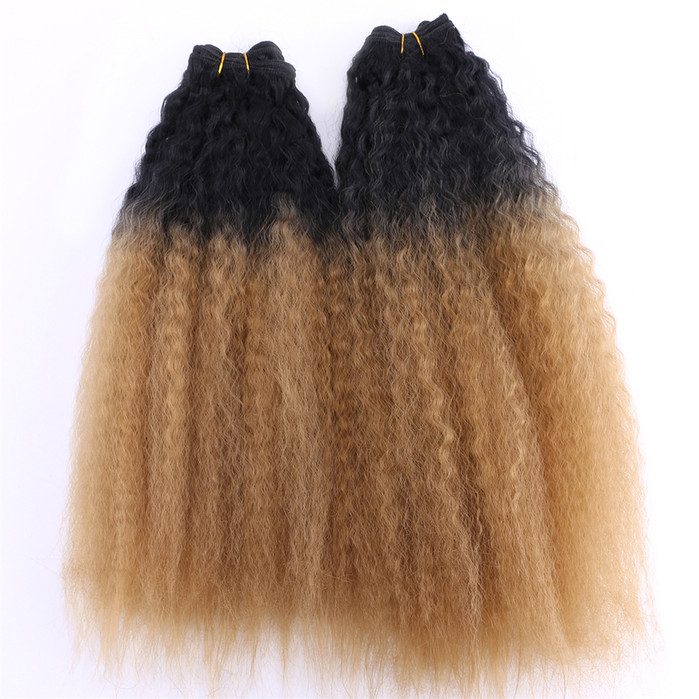 2pieces/lot Two tone ombre Kinky Straight hair bundles black to Golden burgundy synthetic hair extension for women(China)