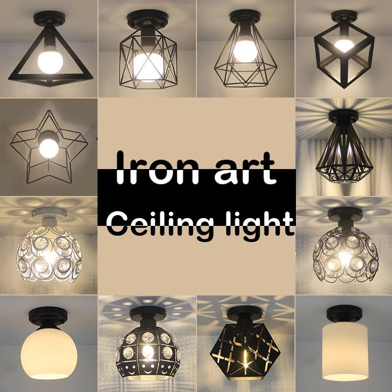 Retro E27 Track Light Spotlights Minimalist Led Ceiling: LED Ceiling Lights Iron Art Ceiling Vintage Lamp