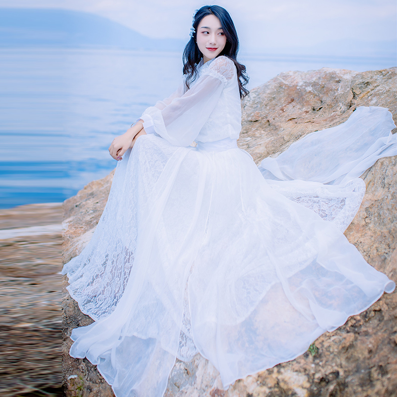 2018 New Spring Section of The Large White Lace Dress In The Long Section of Temperament Chiffon Embroidery A Word Woman Dresses