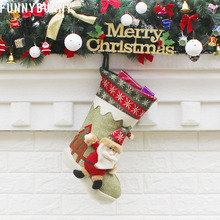 FUNNYBUNNY Christmas Present Stockings 3D Velvet Gift Bag Home Decoration Hat Style Xmas Tree Hanging Ornament
