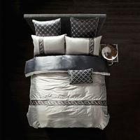 Lụa Sợi Tre Duvet Cover Set bạc ánh sáng màu xám Khăn Trải Giường Nữ Hoàng Vua kích thước Giường Bộ Thêu