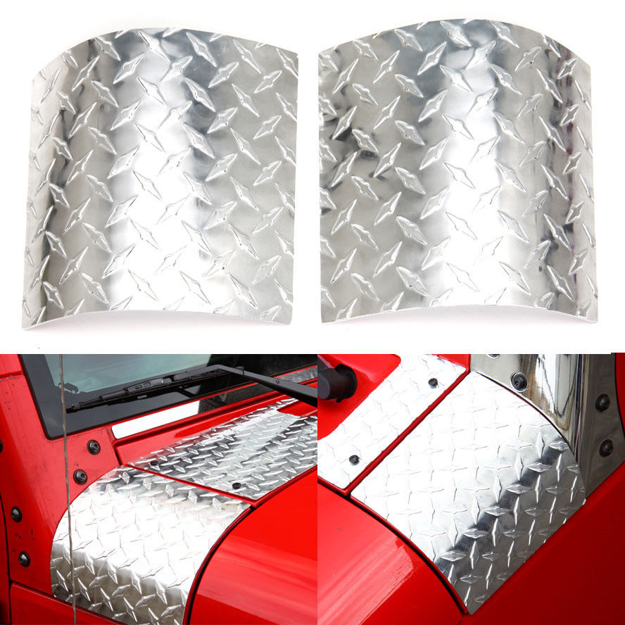 Auto 2pcs/set Aluminum Alloy Side Armor Cowl Body Cover Set For Wrangler JK Unlimited 2007-2015 Car Styling Covers 4pcs set window body side deflector guards sun rain visor shield cover for lr4 lr3 2009 2015 car styling auto accessories