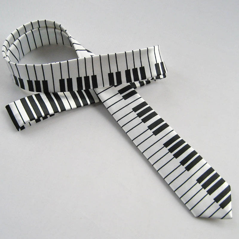 Men's Black & White Piano Keyboard Necktie Tie Classic Slim Skinny Music Tie