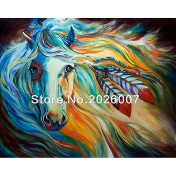 Hand Made Colorful Running Horse Oil Painting On Canvas Reproductions Without Frame