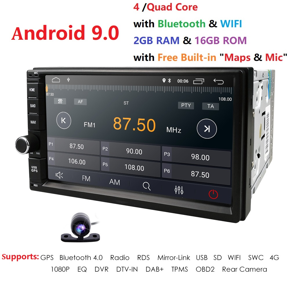 2 Din 7'' Quad core Universal <font><b>Android</b></font> 9.0 2GB <font><b>RAM</b></font> <font><b>Car</b></font> Radio Stereo GPS Navigation WiFi 1024*600 Touch Screen 2din <font><b>Car</b></font> PC Camera image