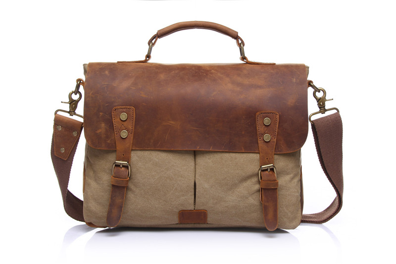 Nesitu Vintage Crazy Horse Leather Canvas Coffee Cyan Blue Grey Khaki Green Women Men Briefcase Messenger Bags Portfolio M1807