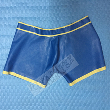 High Quality Latex Short Panties Sexy Rubber Men's Underwear Skin Tight Latex Hot Briefs metallic Blue Latex Shorts Pounch Front