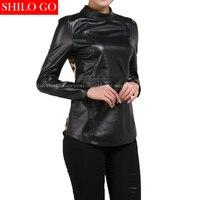 Plus Size New Fashion Women High Quality Sheep Skin O Neck Stitching Tiger Head Sexy Black