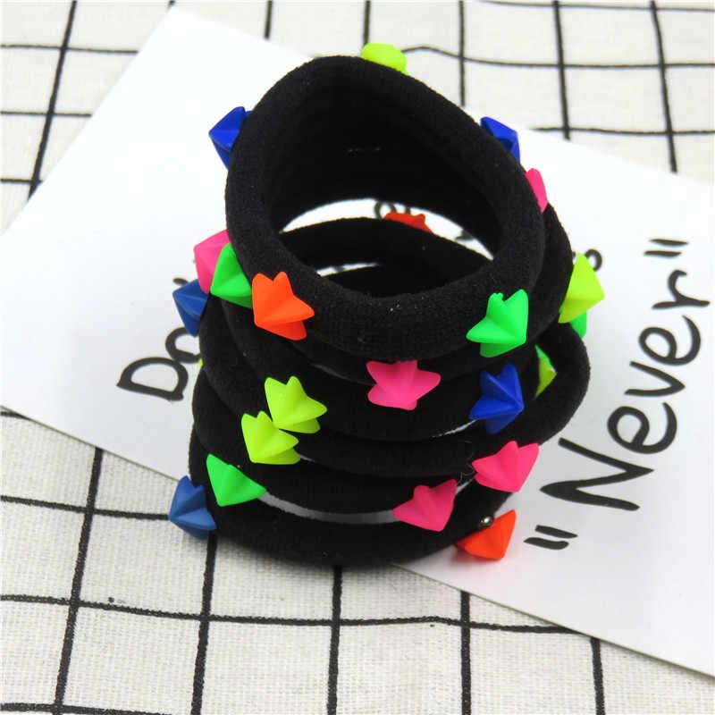 1 шт./10 шт. красивые розовые черные эластичные резинки для волос в горошек с звездочками, 5 см, бант для девочек, галстук для волос, резинки, Детские аксессуары для волос для женщин