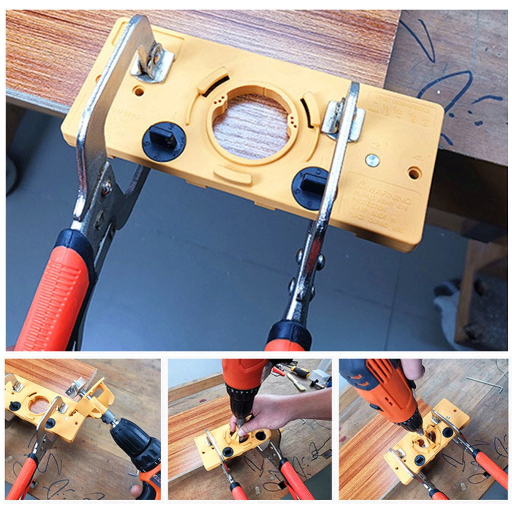 Conjunto 1 35 MM Copo Dobradiça Estilo Guia de Broca Definir Buraco Da Porta Modelo Para Kreg Gabarito Chato Ferramenta Ferramentas de Carpintaria acessórios de madeira B2