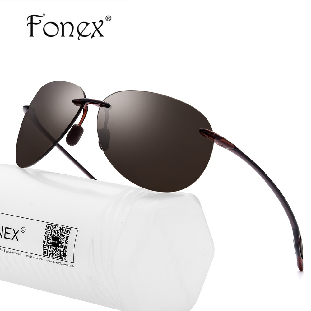 FONEX Ultem TR90 Sem Aro Óculos De Sol Dos Homens Ultraleves 2018 Mulheres  de Alta Qualidade Nylon Aviação Aviador Óculos De Sol para Homem em Óculos  de sol ... 49038a7f83
