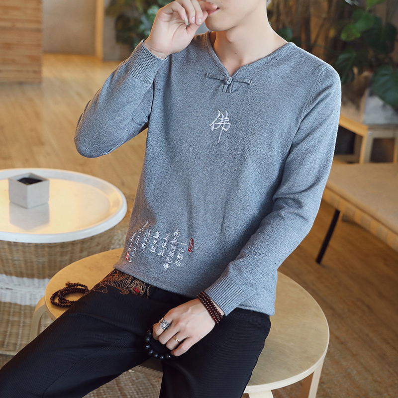 Chinese style Buddha embroidery Pull Homme Pullover Men spring autumn Casual sweater knit leisure Jersey Hombre Cotton v-neck 57