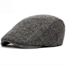 HT1329,, осенне-зимняя мужская шапка, береты, британский западный стиль, шерсть, усовершенствованная плоская кепка, классический винтажный полосатый берет, Кепка