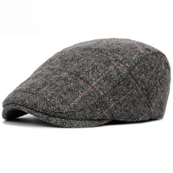 7c990c62829aa HT1329 2017 Autumn Winter Men Cap Hats Berets British Western Style Wool  Advanced Flat Ivy Cap