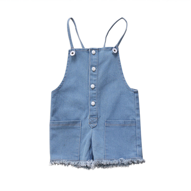 Fashion Newborn Baby Girl Sleeveless Strap Denim Romper Jumpsuit Button Pocket Rompers Jeans Pants Outfits Set Girl Clothes 0-2Y