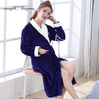 Tinyear long bathrobes for ladies full sleeve solid color bathroom robe women polyester sleeping robes blue pink