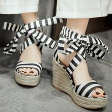 цена на Classic Espadrille Wedge Sandals Summer Parties Shoes Elevated Wedge Open Toe Sandals Street Shoes Sz 33 - 43 Plus Size Shoes