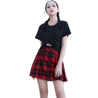 2018 College Style Party Pleated Skirt Summer New High Waist Slim A Word Skirt Girl Red Plaid Skirt