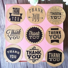 90pcs/lot Zakka Handmade 9 Different THANK YOU Vintage Kraft Paper Circle Seal Sticker Round DIY Gift Packaging Label