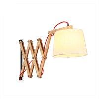 Modern Home Wood Retractable Wall Lamps E27 Living Room Lights Bed Wood Bedroom Living Room Wall Lamp Study LED Lights Luminaire