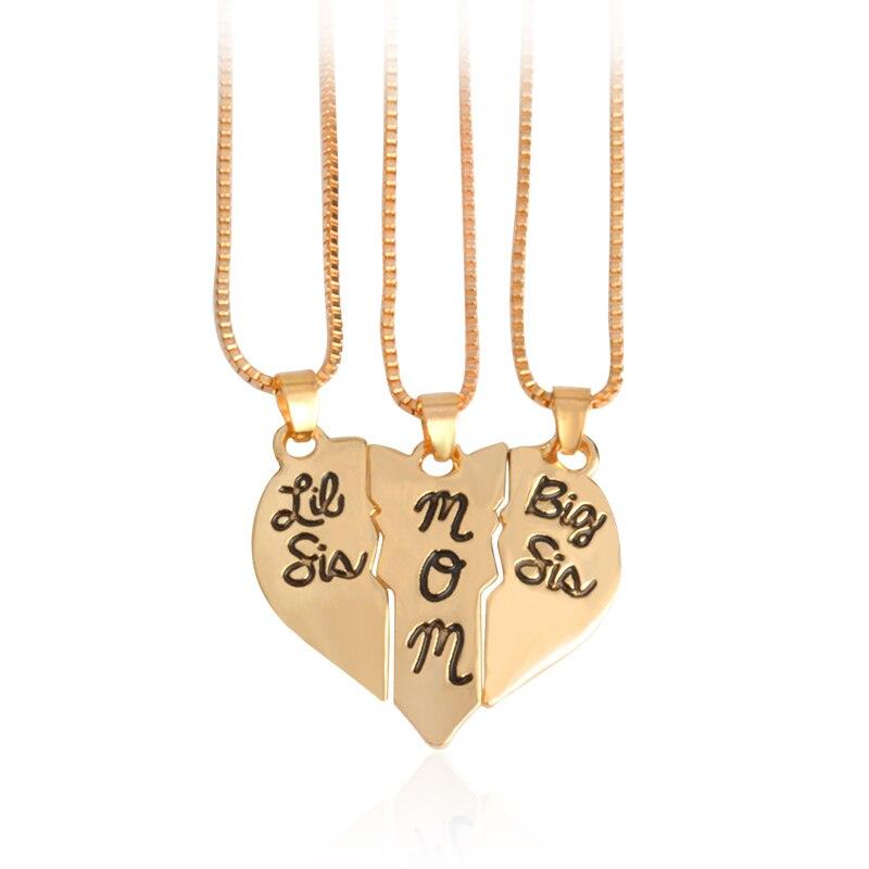 "3pcs/set Lettering ""Little Sis MOM Big Sis"" Love Heart Pendant Necklace"