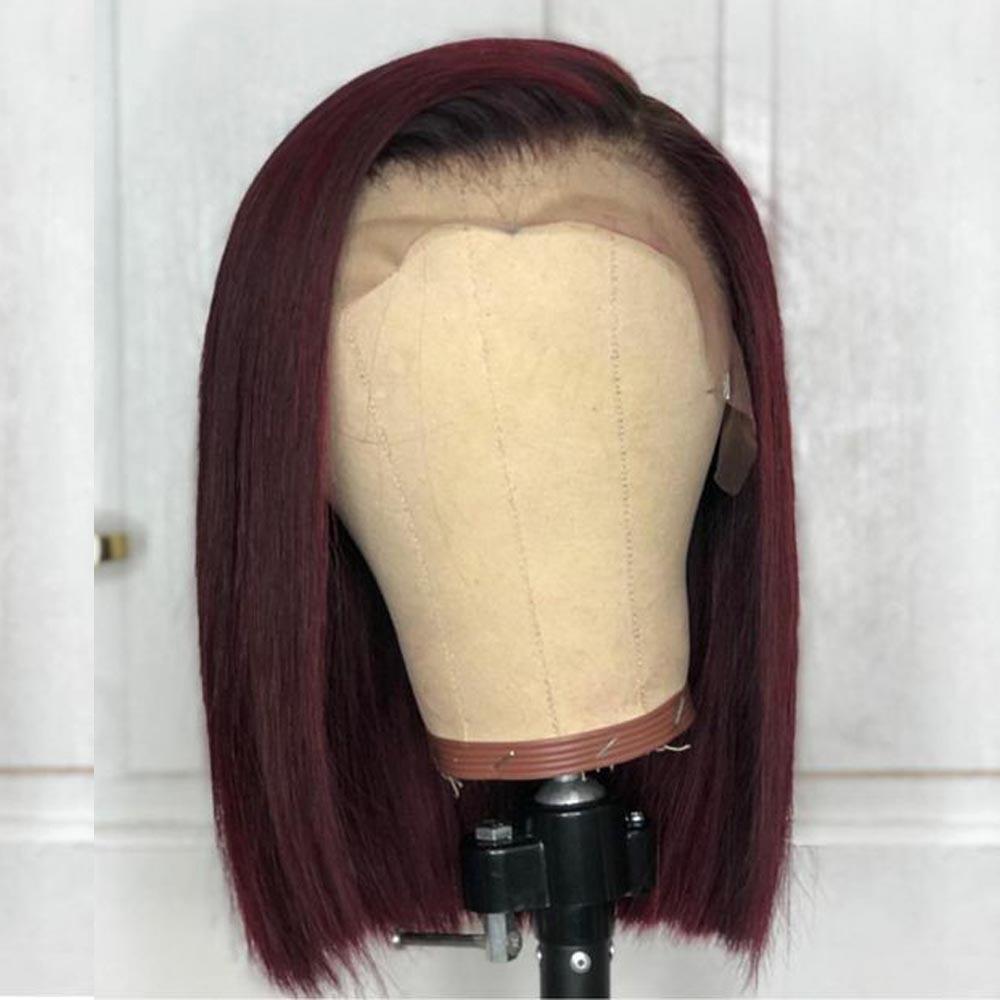 Perruque avant en dentelle bordeaux couleur Ombre cheveux humains perruques cheveux rouges préplumés droite 1B/99J pour les femmes péruviennes Remy Aimoonsa