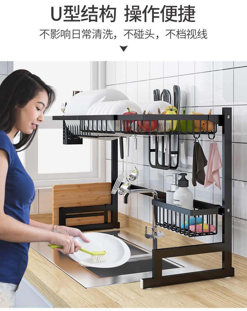 Stainless Steel Dishes And Plates Rack Kitchen Sink Organizer Dish Rack Drainer Sponge Chopsticks Rack Holder Sink Drying Rack