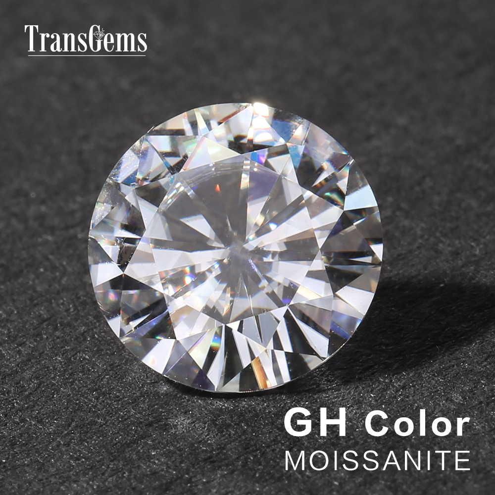 TransGems 1 Piece Diameter 9mm GH Color Moissanite Equivalent Diamond Carat Weight 3ct Carat Gemstone for Jewelry Making