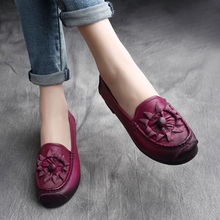 Autumn Ladies Big Size Flats Handmade Sewing Genuine Leather Soft Bottom Shoes For Women Floral Oxford Slip On