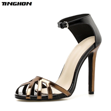 TINGHON Sexy High Heels Sandals Women Rome Style Shoes Woman Gladiator Sandalias Mujer Stiletto Peep Toe Fashion Party shoes