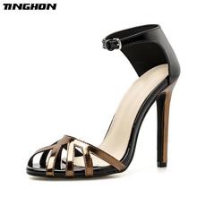 TINGHON Sexy High Heels Sandals Women Rome Style Shoes Woman Gladiator Sandalias Mujer Stiletto Peep Toe Fashion Party shoes цены онлайн