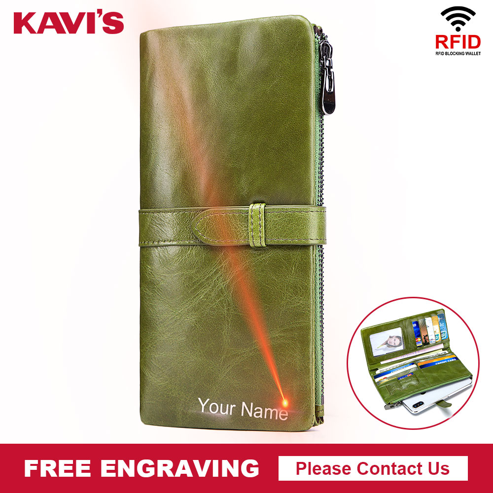 KAVIS Free Engraving Genuine Cow Leather Women Wallet And Female Coin Purse Portomonee Clutch Money Bag Hasp Handy Card Holder