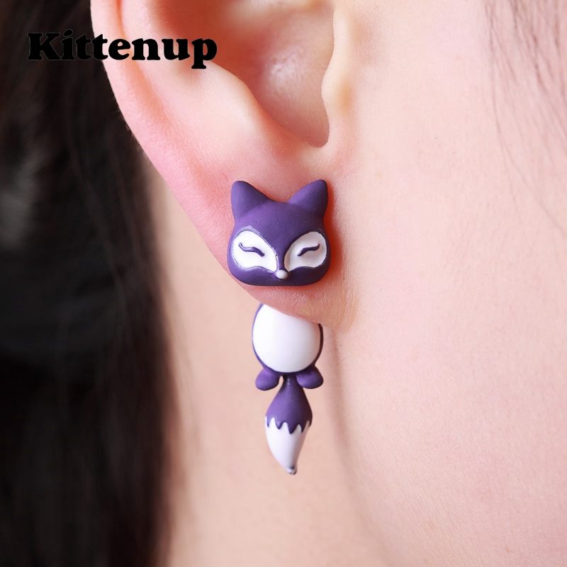Kittenup New Fashion Yellow Purple Black Animal Cute Fox Stud Earrings For Women Jewelry Gifts 0418