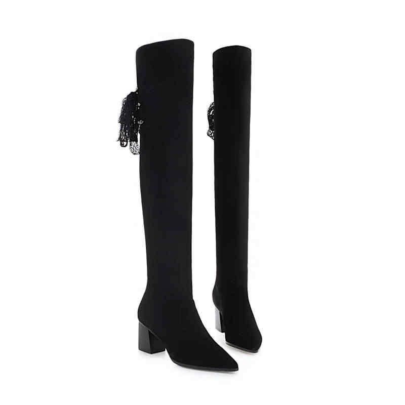 MORAZORA 2020 ใหม่มาถึงต้นขาสูงกว่าเข่ารองเท้าผู้หญิง pointed toe รองเท้าฤดูใบไม้ร่วงฤดูหนาวรองเท้าส้นสูงรองเท้าผู้หญิงสีดำ