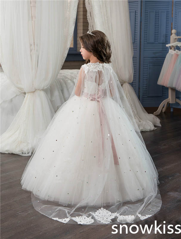 White/ivory shawl cute for little girl first communion dress with crystals tulle ball gown pretty toddler pageant prom dresses new hot pretty ivory or white appliques tulle beads sash flower girl dresses with train white girls first communion dresses