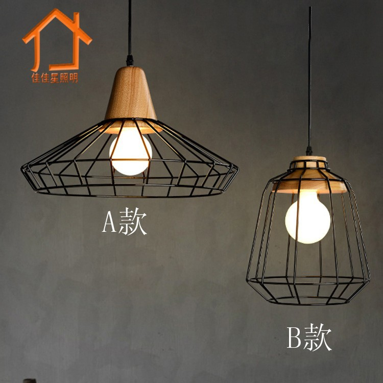 Vintage Wrought Iron Led Pendant Light Wooden Loft Hanging Cage Lamp Cafe Bar Dining Room Suspension Luminaire Retro Nordic E27 chandelier ball cage lighting iron balls nordic light crystal lamp hanging pendant wrought cages iron american rural retro