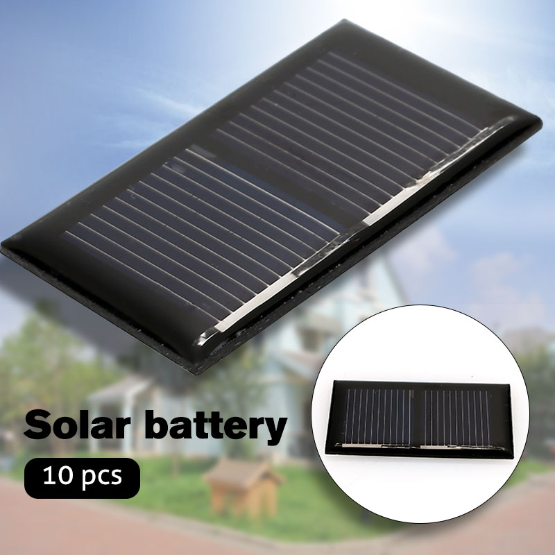 10pcs/Set Solar Panel Solar Charger Polysilicon Solar Cell Durable Frosted Glass Plate 1V 0.125W Battery Charger
