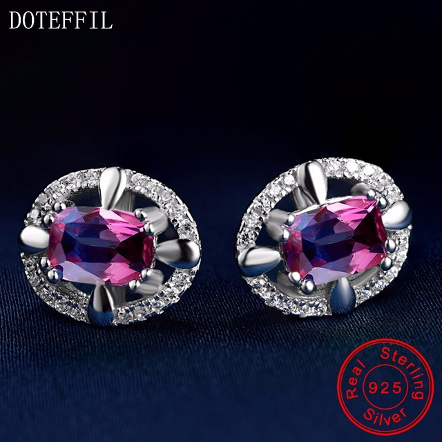 100 Sterling Silver Earrings Charm Women Fashion Zircon 925 Luxury Jewelry For