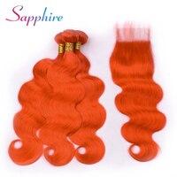 Sapphire Body Wave Peruvian Dark Orange 3 Bundles Human Hair Weaves With 4*4 Lace Closure Human Hair Bundles with Lace Closure