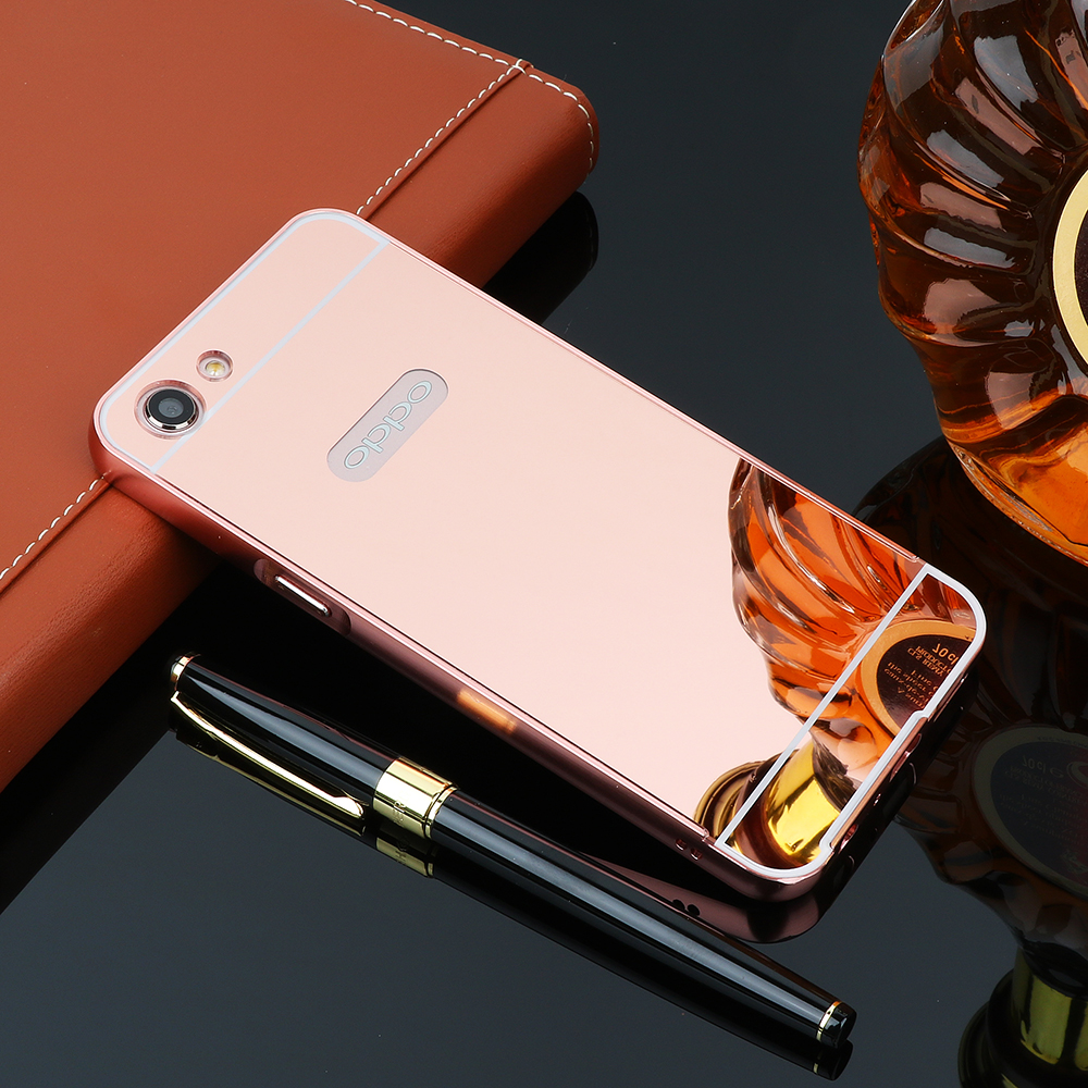 Fashion Luxury Rose Gold Mirror Case For Oppo A83 A 83 2in1 Squishy Metal Bumper Hard F1s Img 1997 1998 1999